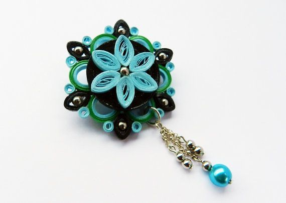 Image result for paper flower jewelry metals 3 5h paper jewelry items similar to blue green black brooch quilled paper flower handmade on etsy mightylinksfo