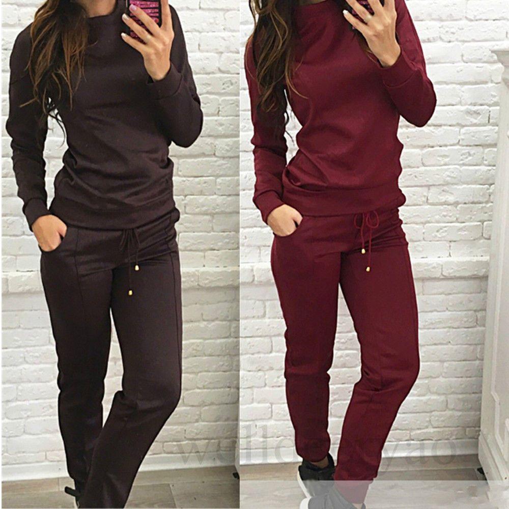 Womens Jogger Casual Tracksuit Hoodies Sweatshirt + Pants 2Pcs Sets Sportswear