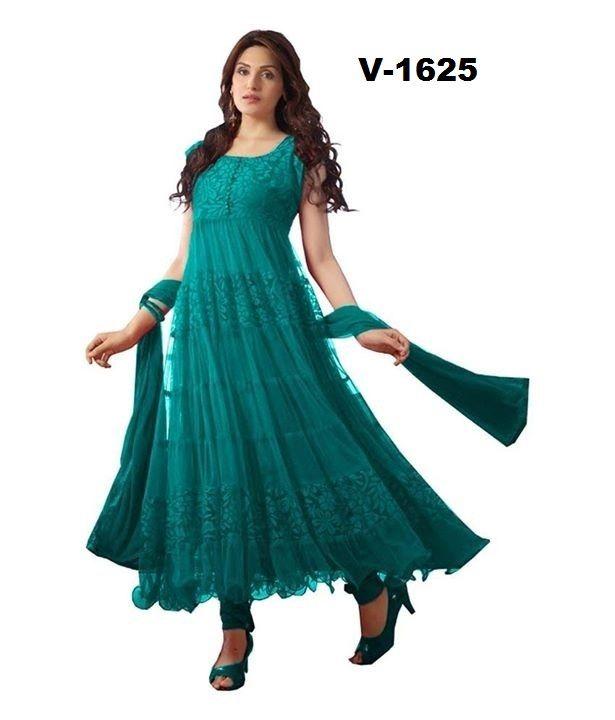 6dad8471b9 Buy Brasso Net Peacock Blue Anarkali Suit Dress Materials: justforbuy.com