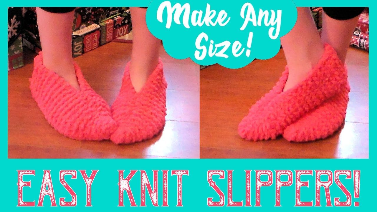Easy Knitted Slippers for Beginners! Fast & FUN!   Knitted ...