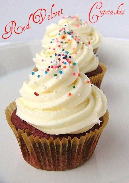 Red Velvet Cupcakes with Maple Cream Cheese Frosting (Une Gamine dans a Cuisine blog)