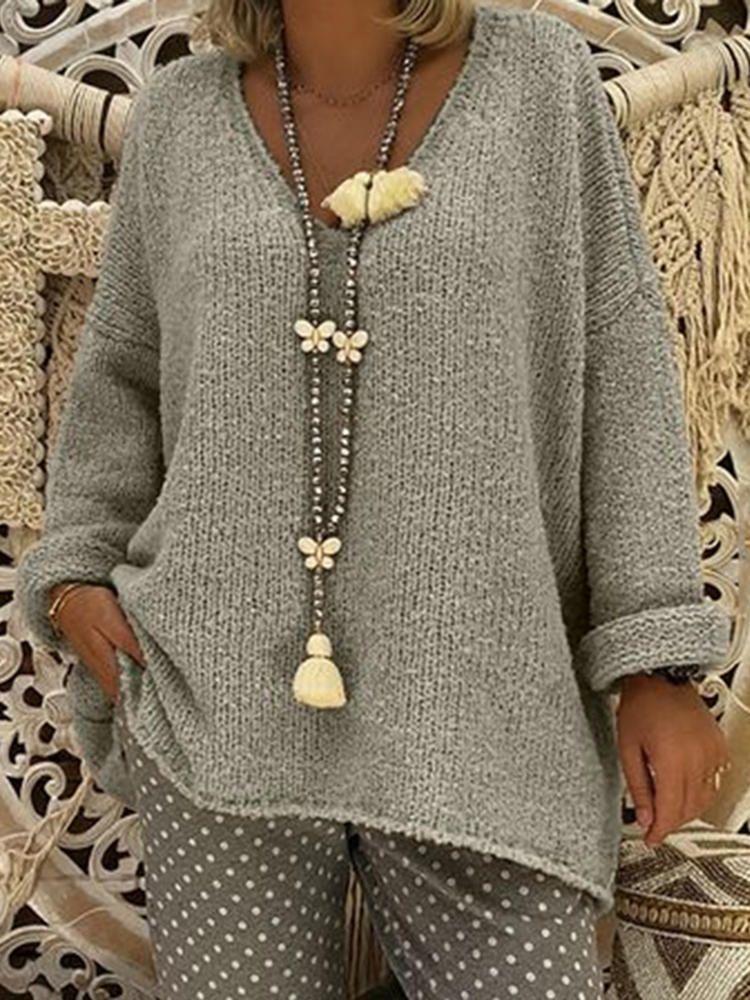 Frauen reine Farbe V-Ausschnitt Langarm Strickpullis   – Outerwear winter