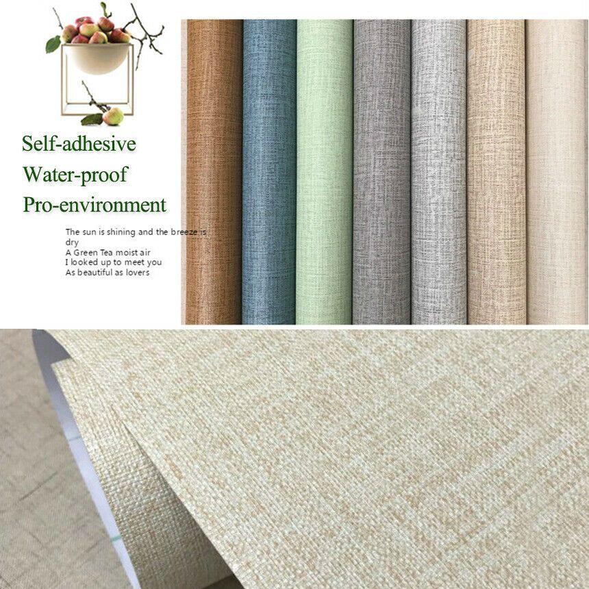 Pvc Linen Pattern Solid Color Wallpaper Self Adhesive Waterproof Wall Cloth Deco Wallpaper Ideas Of Wallpaper Wallpaper