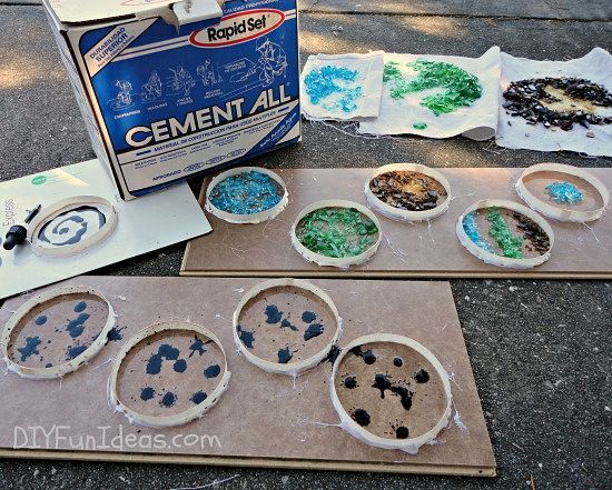 How To Make Crushed Glass Tie Dyed Concrete Coasters