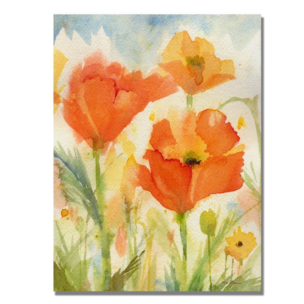 Shelia Golden \'Field of Poppies\' Canvas Art | Overstock.com Shopping ...