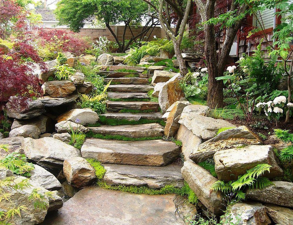 Stein, Garten, Gartengestaltung, Steingarten, Gartenideen