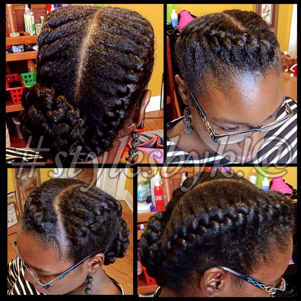 2 Goddess Braids On Natural Hair With Bun Stylesbyk Natural Hair Styles Short Hair Styles 2 Goddess Braids