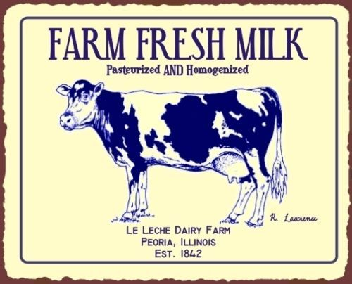 Farm Fresh Milk Ad Cow Country Kitchen Home Wall Decor Picture Metal Tin Sign