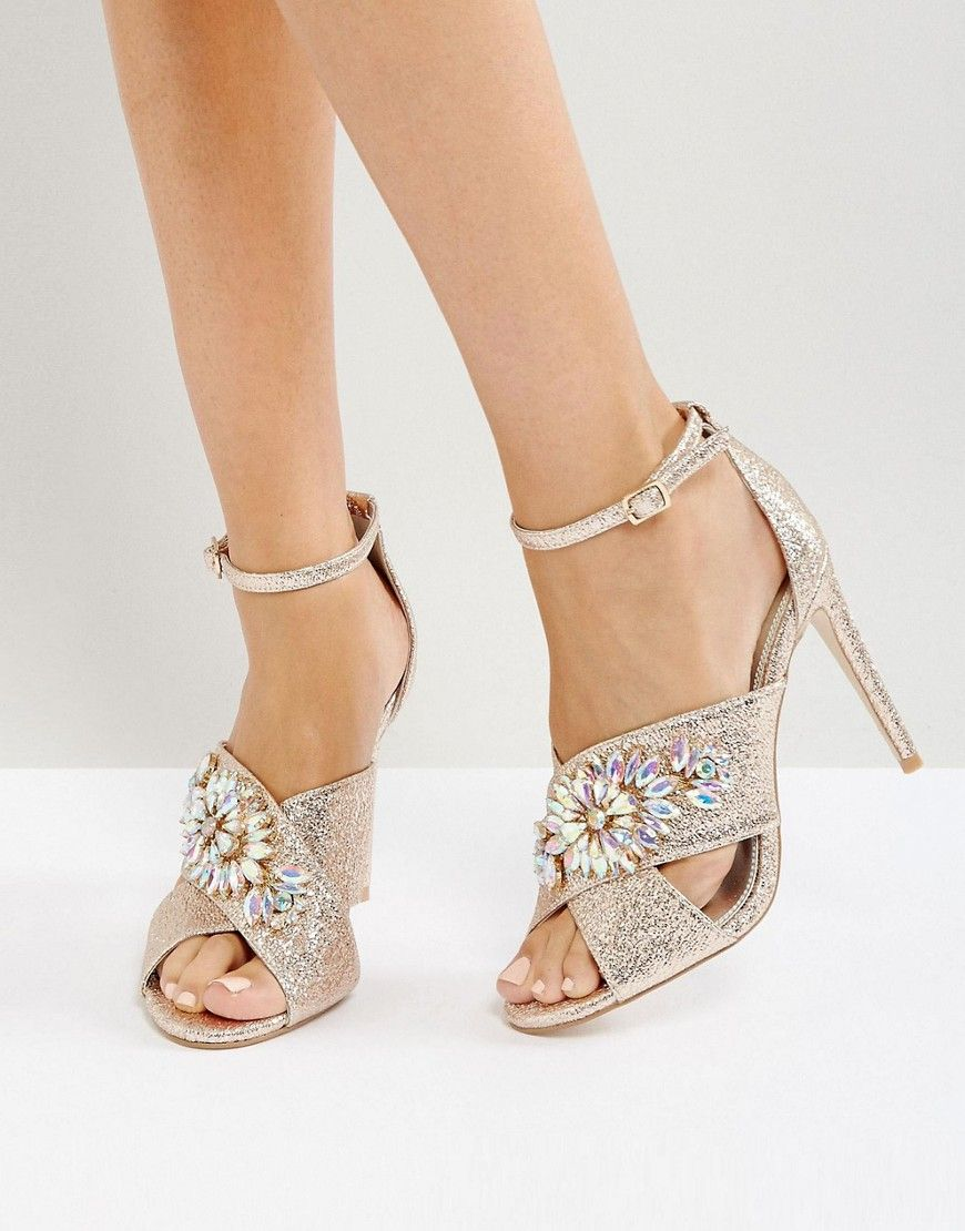044ff6eed22 ASOS HOLY GRAIL Embellished Heeled Sandals - Gold