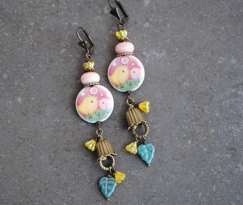Rustic handmade Boho Chic glass and brass dangle earrongs Ooak