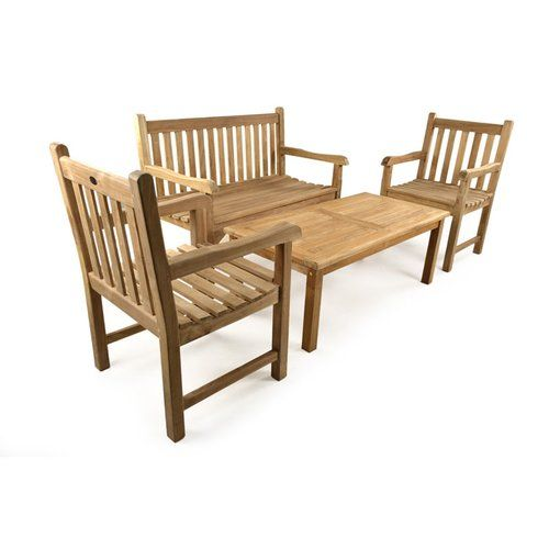 Kendra 4 Seater Sofa Set Lynton Garden Teak Bench Corner Sofa With Cushions Outdoor Furniture Sets