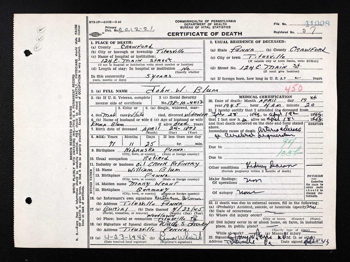 Maternal Great Grandfather Pa Death Certificate John William