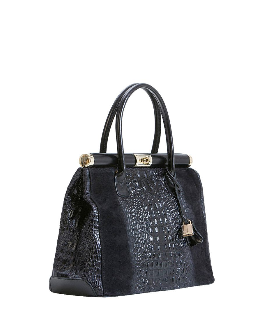 PIA SASSI Black leather textured grab bag 08dca3ea16e43