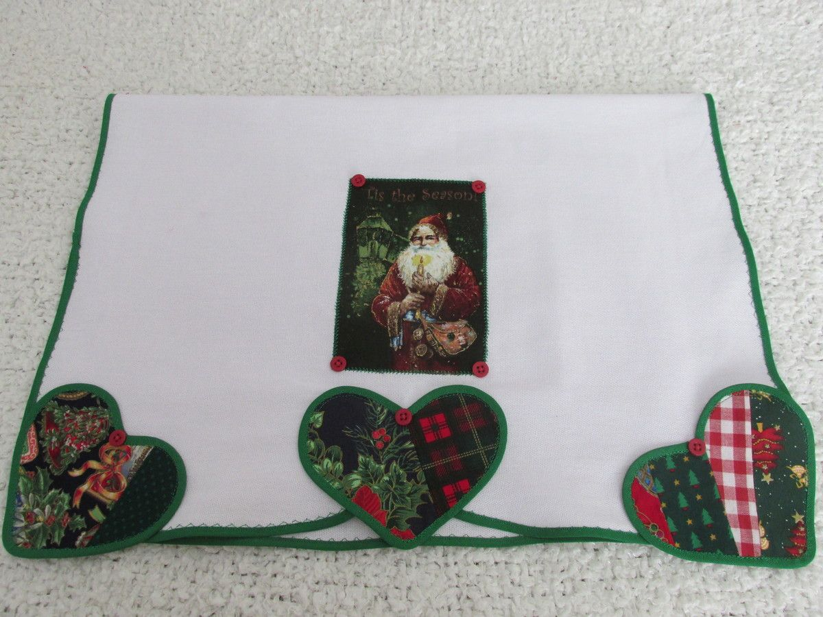 Pano de Prato Corações de Natal | vezart | Elo7