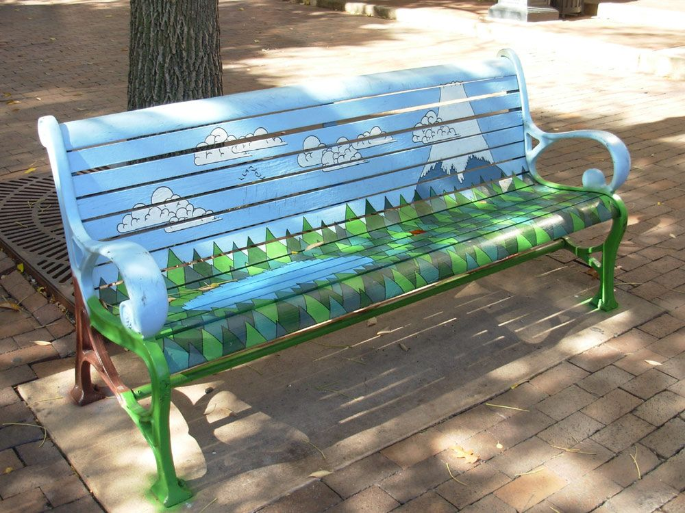 Painted bench google search pinterest for Painted outdoor benches