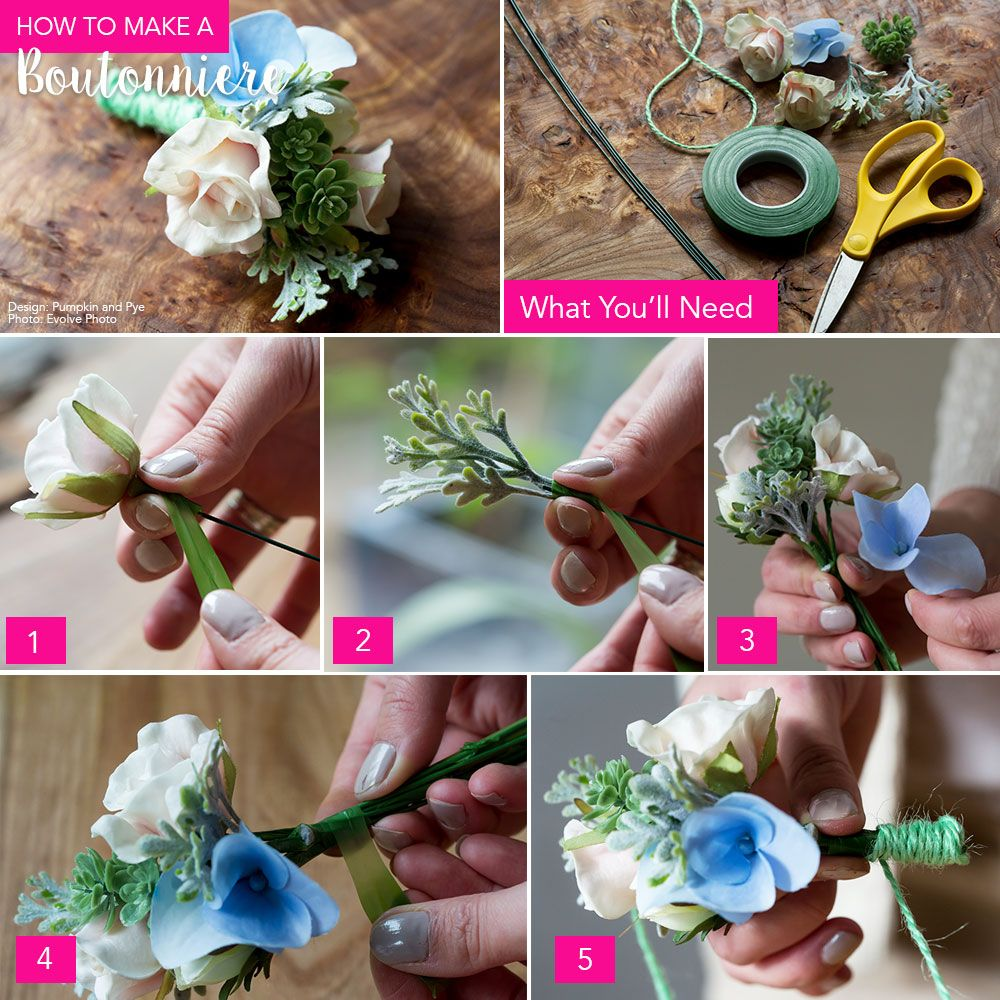 Diy Boutonniere Silk Flowers Boutonnieres And Flower