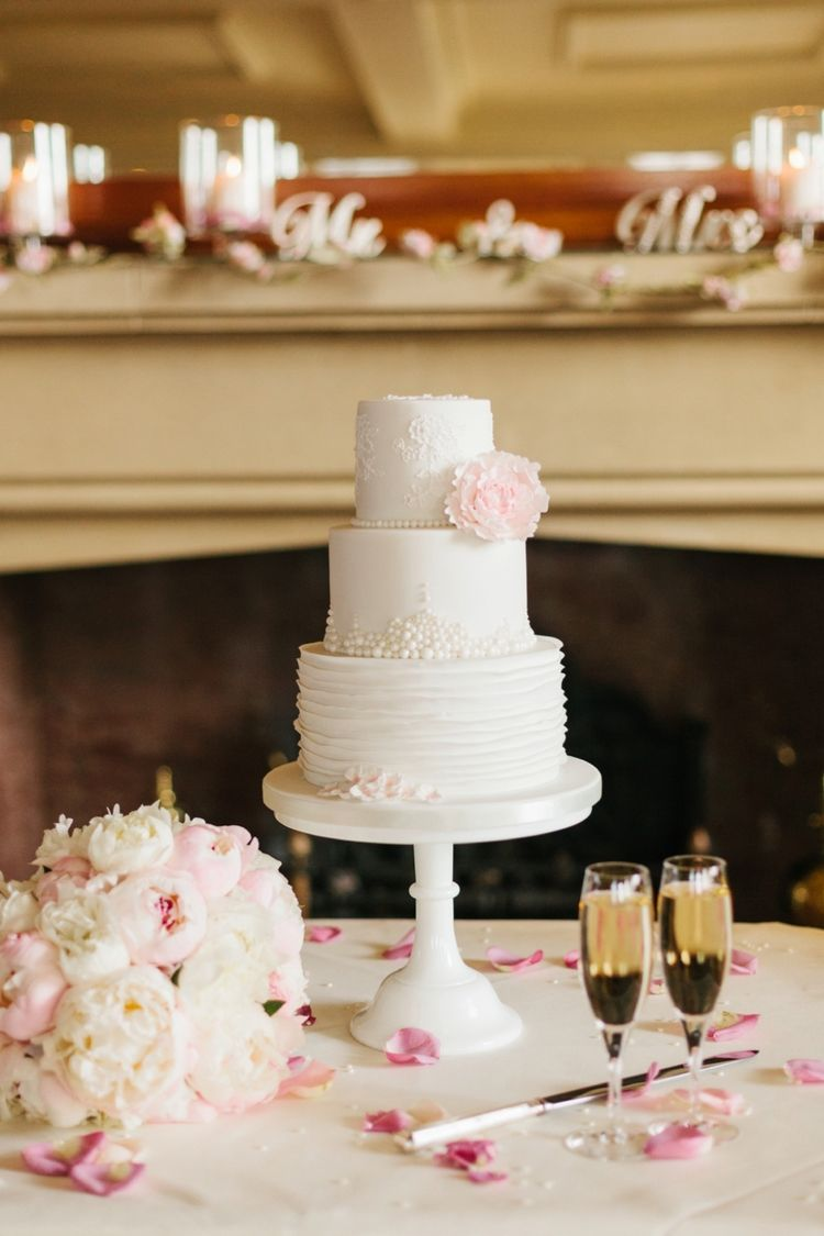 3 tiered white wedding cake with pink flower detail by finesse cakes 3 tiered white wedding cake with pink flower detail by finesse cakes picture credit to mightylinksfo Image collections