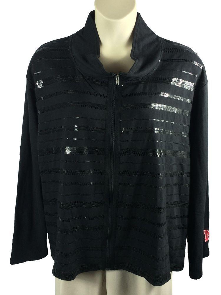 0c8b4460e6d Womens UG Apparel Sweatshirt Plus Size 3X Zip Front Sequins Black Nebraska  Logo…