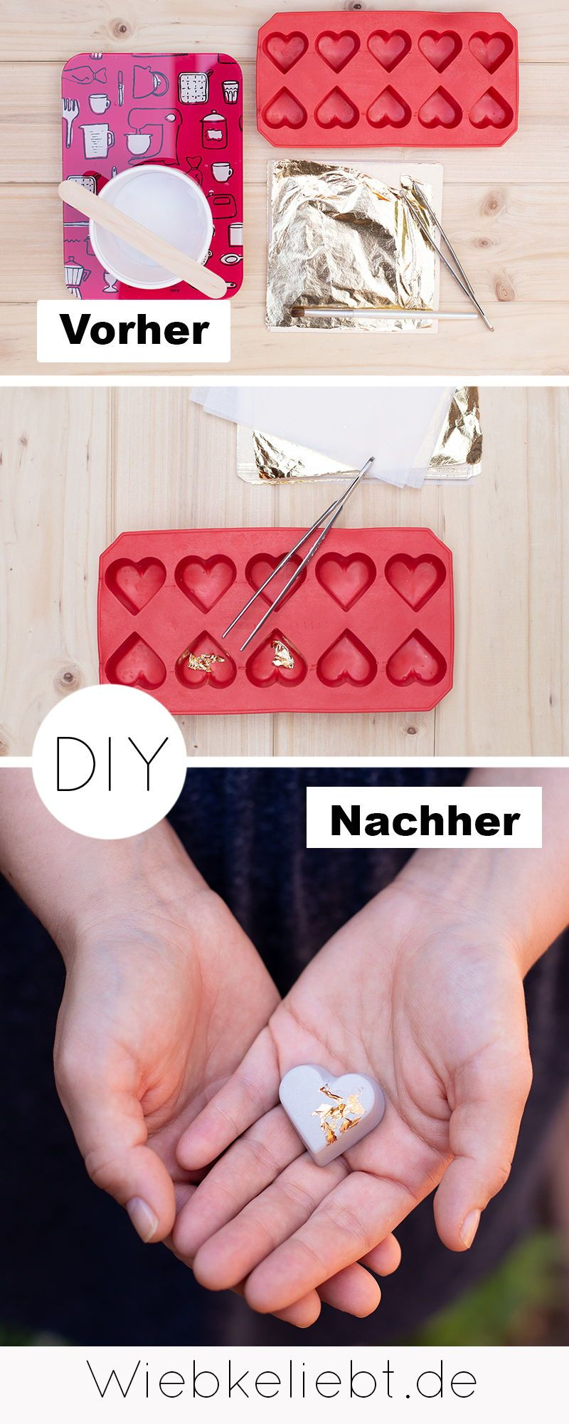 DIY Beton Herzen mit Blattgold - Tischdeko zur Hochzeit | DIY Blog | Do-it-yourself Anleitungen zum