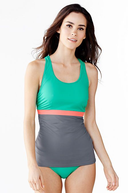 74374dabe8a Women's AquaSport Tunic Swimsuit Top - Colorblock from Lands' End ...