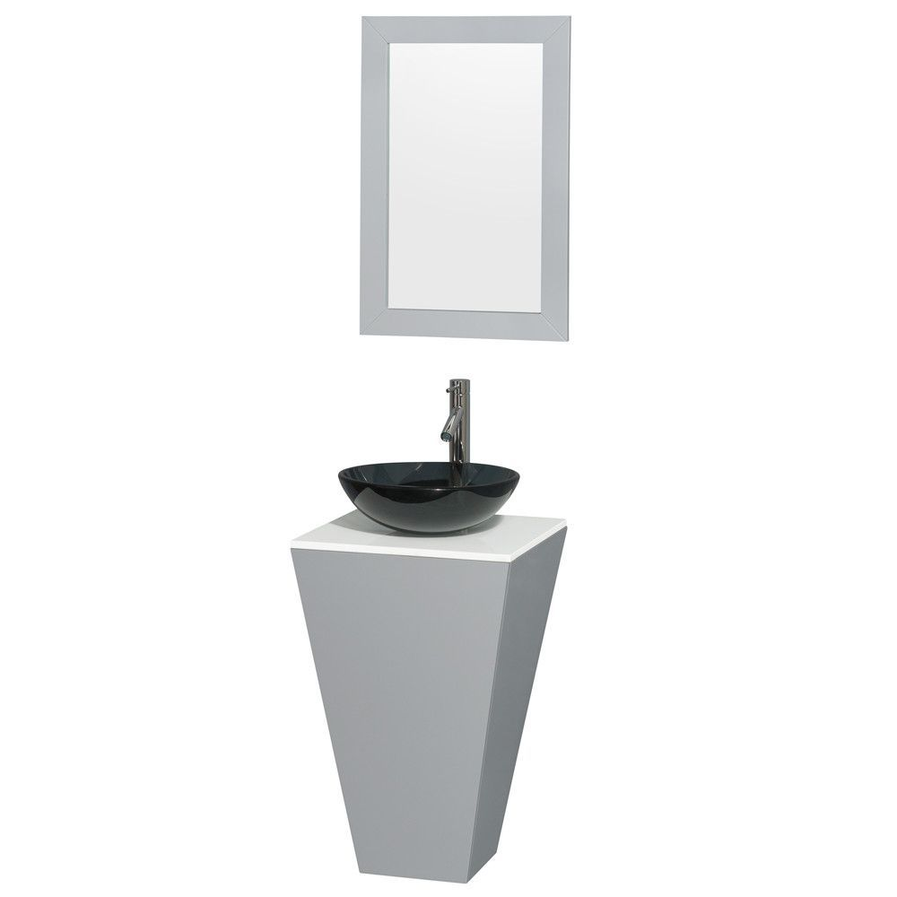 Esprit 20 Single Pedestal Bathroom Vanity Set With Mirror Glass