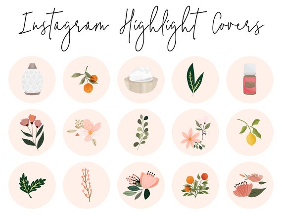 Essential Oil Instagram Story Highlight Icons - 16 Pink Floral Covers, Instagram Highlight Covers, Social Media Icons, Blog Branding Kit