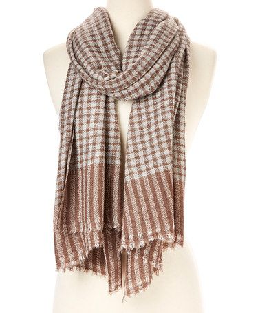 Another great find on #zulily! Brown Checkerboard Cashmere Scarf by ...