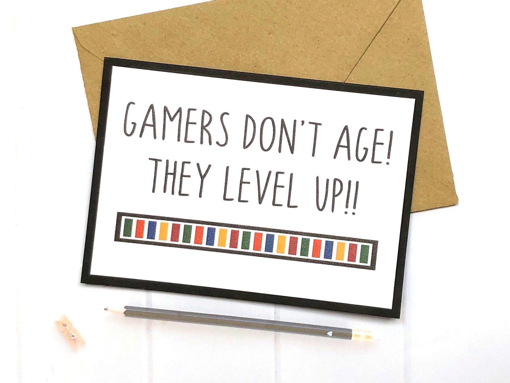 Gamer Birthday Card Gamer Gifts Gamer Birthday Gaming Etsy Gamer Gifts Birthday Cards Birthday Games