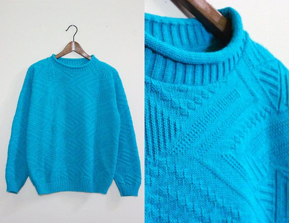 Vintage Turquoise Sweater With Aztec Graphic Knit Pattern Cool