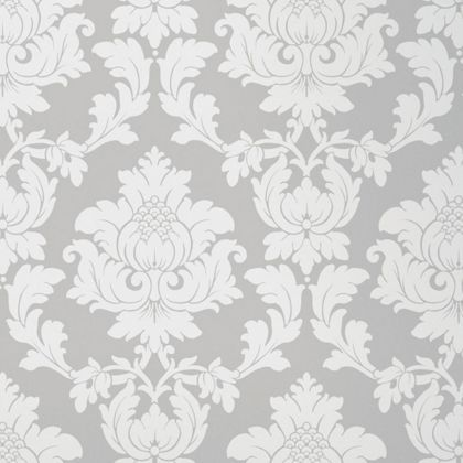 Hb Fw Regency Damask Wallpaper Silver At Homebase Be Inspired And Make Your House A Home