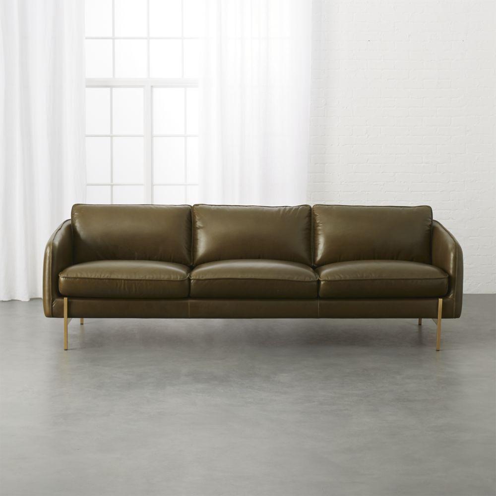 Cb2 November Catalog 2018 Hoxton Olive Green Leather Sofa