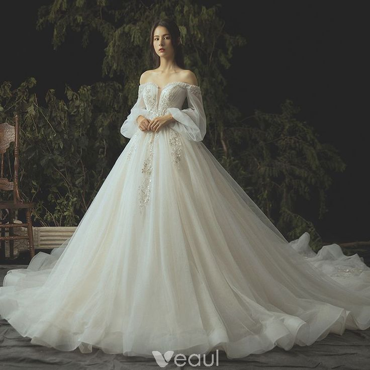Luxury / Gorgeous Ivory Wedding Dresses 2019 Ball Gown Lace Flower Beading Crystal Sequins St... 2