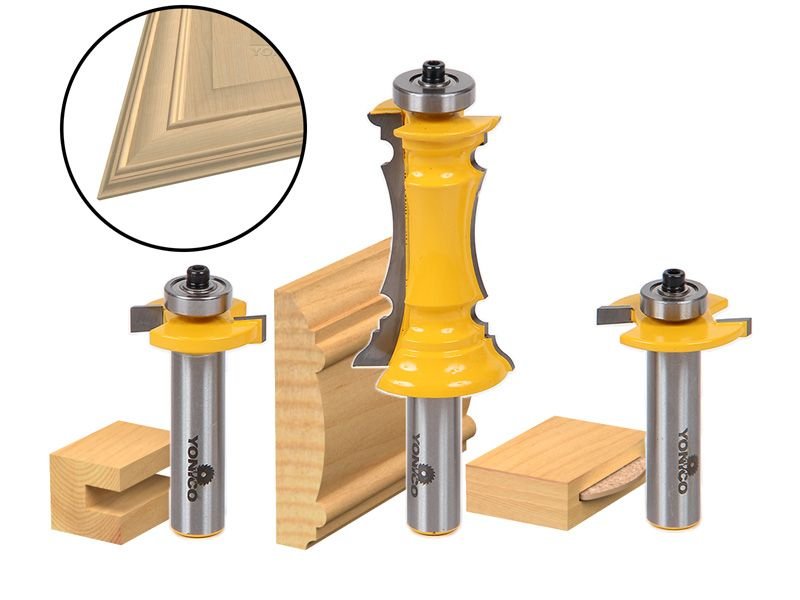 Yonico 12230 Mitered Door Router Bit Set with Frames and Molding Bit Shank