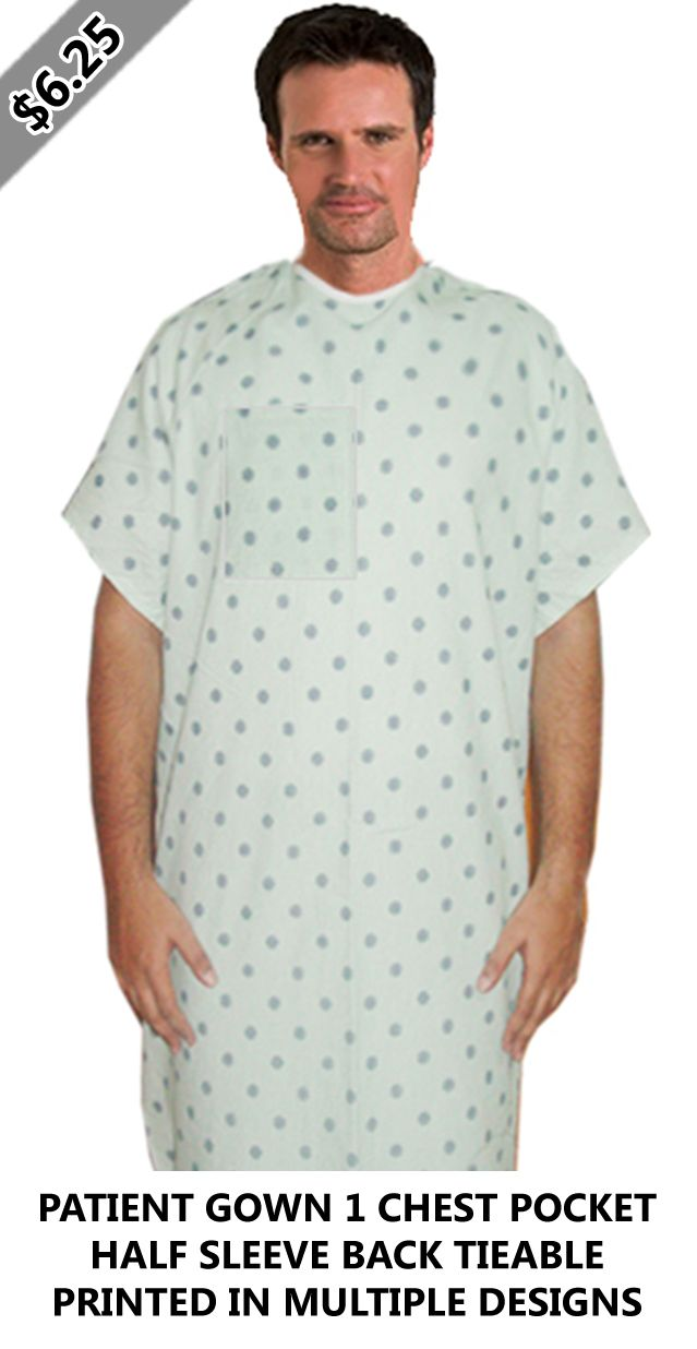 PATIENT GOWN 1 CHEST POCKET HALF SLEEVE BACK TIEABLE PRINTED IN ...