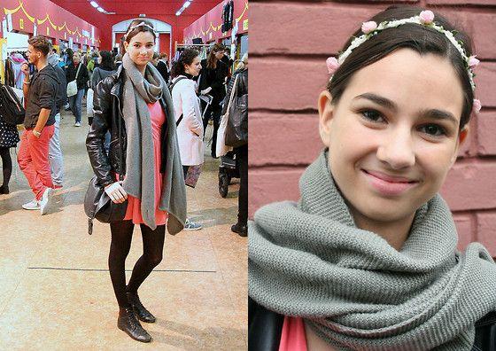 Pimkie Dress, Zara Leather Jacket, H&M Bag, Primark Flowers and Baťa Shoes by fashion blogger Kristýna Křesťanová from Czech Republic