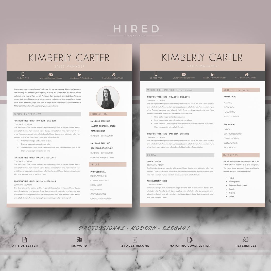 Resume template for Ms Word Modern resume template