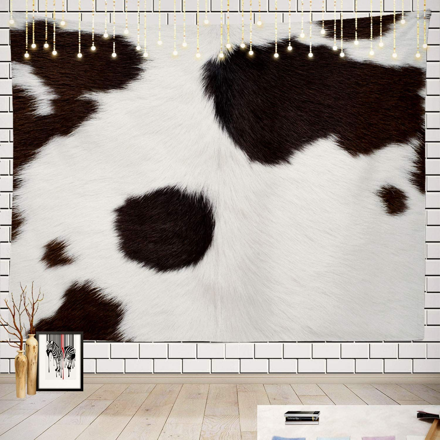 Batmerry Cow Tapestry Black And White Cow Hide Fabric Print Picnic Mat Hippie Trippy Tapestry Wall Art Medita In 2020 Tapestry Wall Art Trippy Tapestry Cowhide Fabric