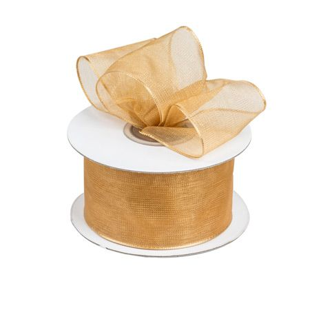 """Gold 1.5"""" Wired Edged Organza Ribbon"""