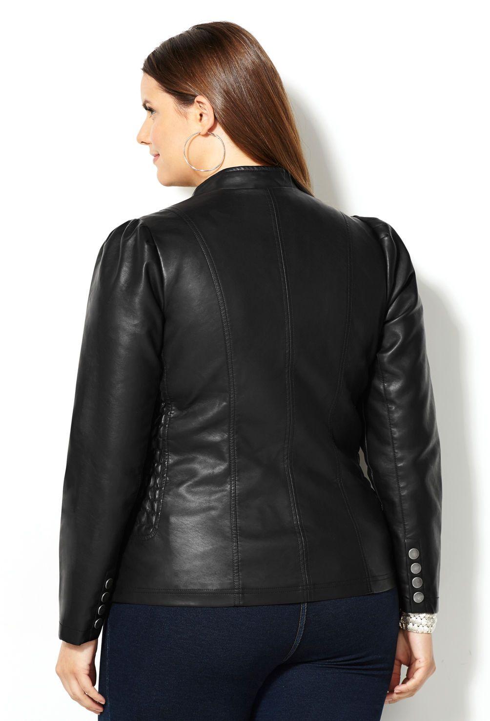 f642e21de856c Quilted Side Faux Leather Jacket-Plus Size Jacket-Avenue