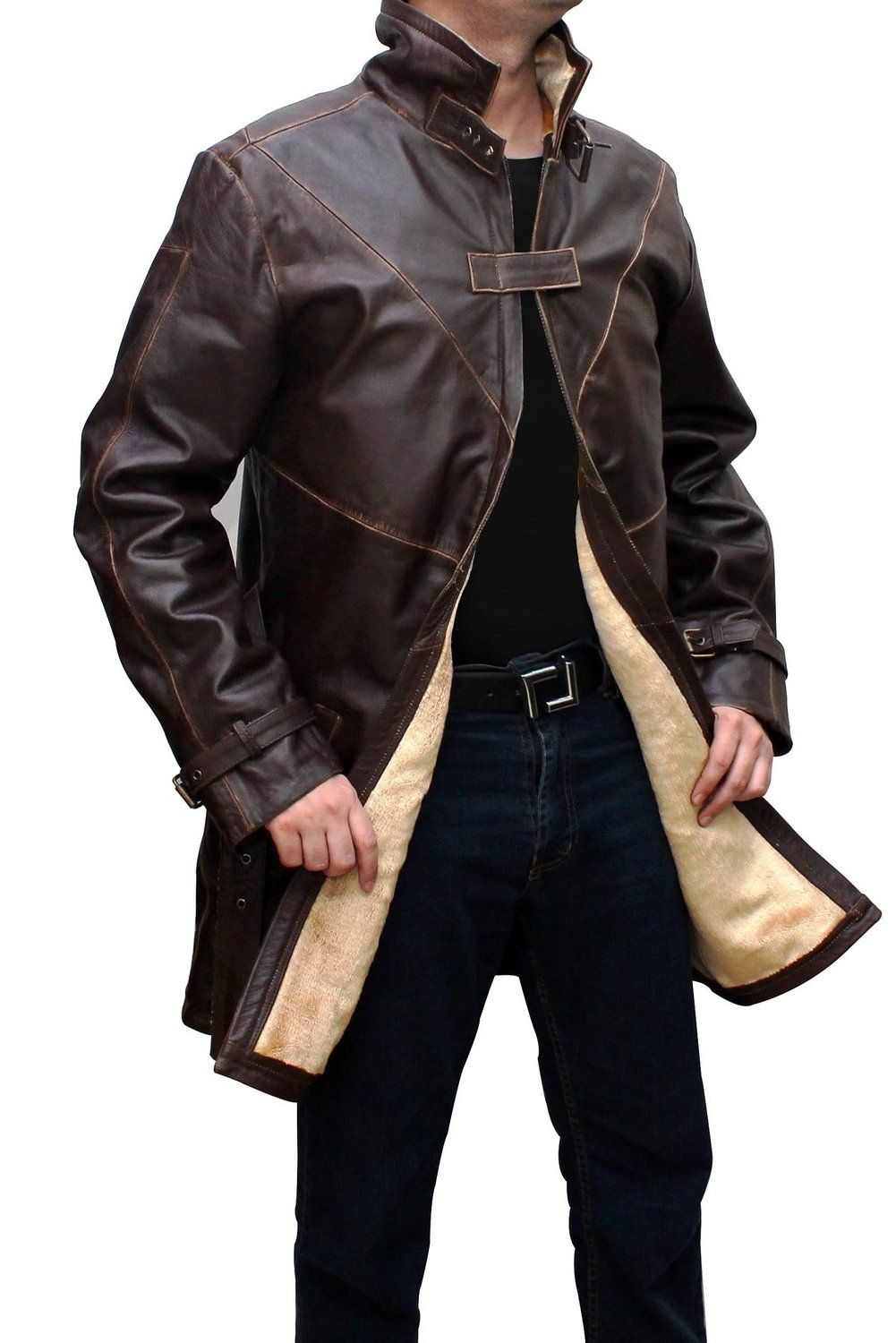 WD Leather Trench Coat Mens Brown Distressed Jacket at