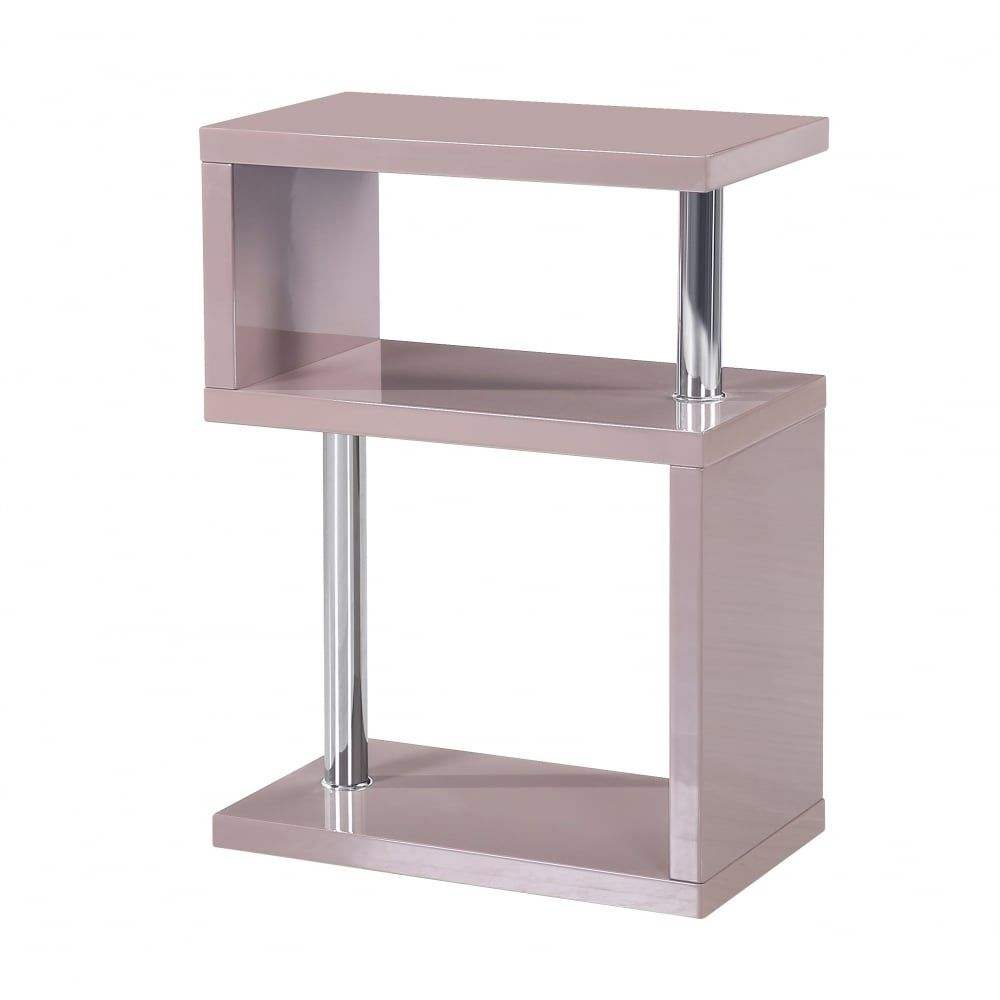 Mfs Furniture Miami Mink Grey High Gloss Side Table Comes In A High Gloss Finish In A 3 Tier Design Ideal For Displaying Ornaments Side Table Furniture Table