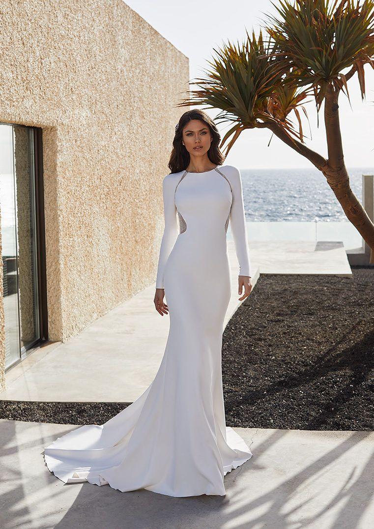 Crepe Mermaid Wedding Dress With Long Sleeves And Lace Back Adela Wedding Dresses Wedding Dress Sleeves Dresses [ 1076 x 761 Pixel ]