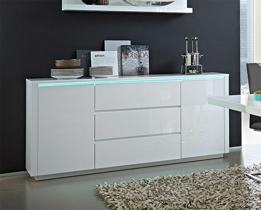 Germania Chicago Modern High Gloss White 2 Door Sideboard ...