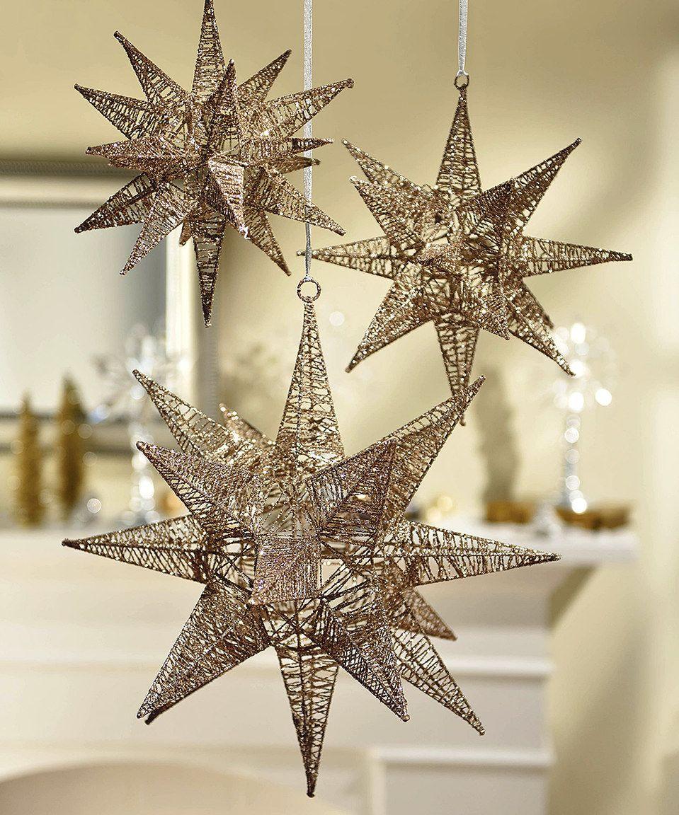 Gold Glitter Moravian Hanging Stars Set by Grasslands Road #zulily ...