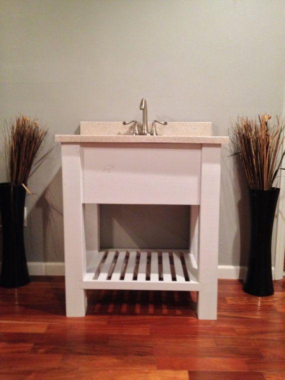 "Bathroom Vanities Etsy 29"" open shelf bath vanity : sink cabinet, modern, slatted shelf"
