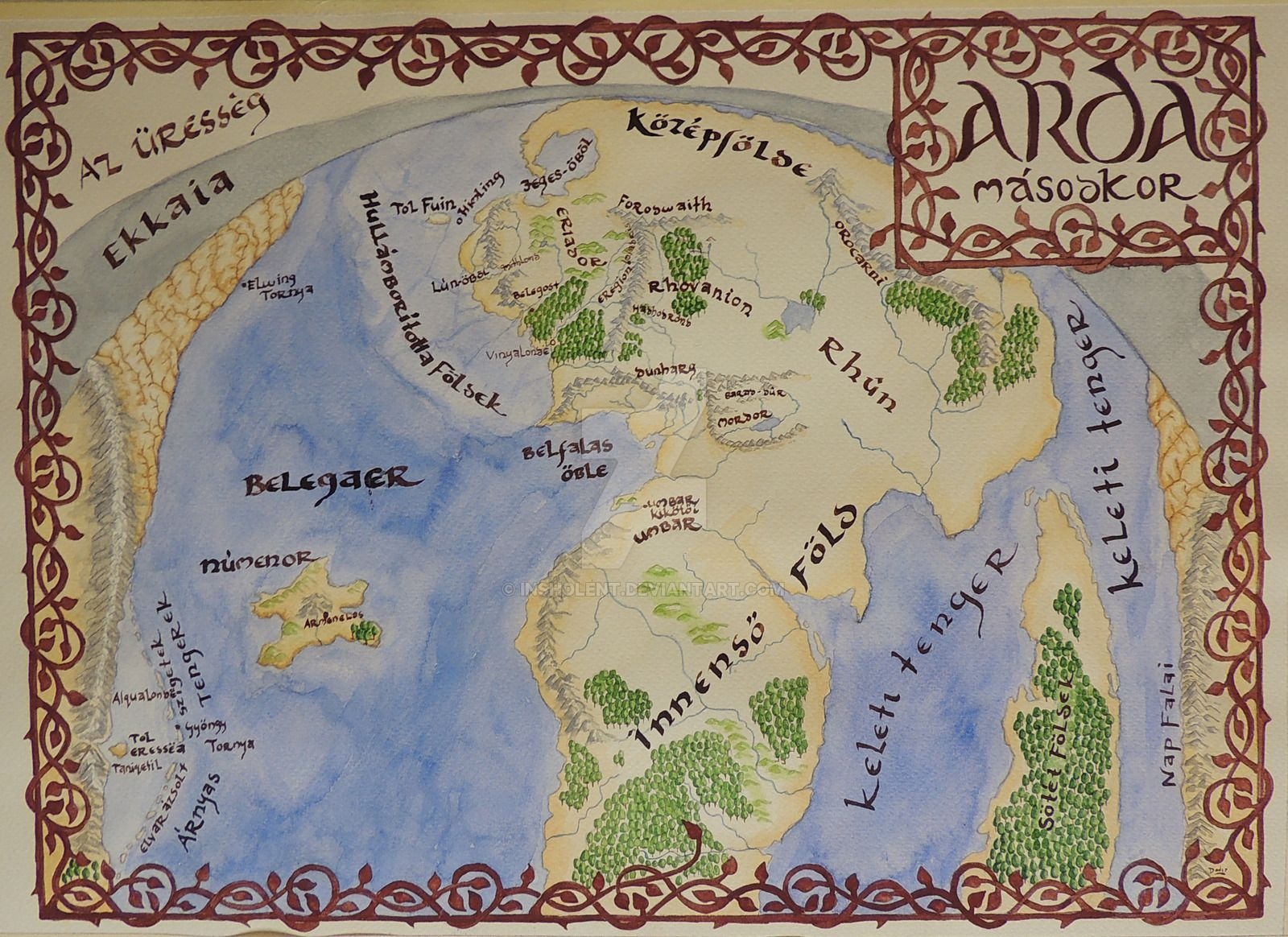 second_age_of_arda_by_insholent on deviantart.| Maps of Middle