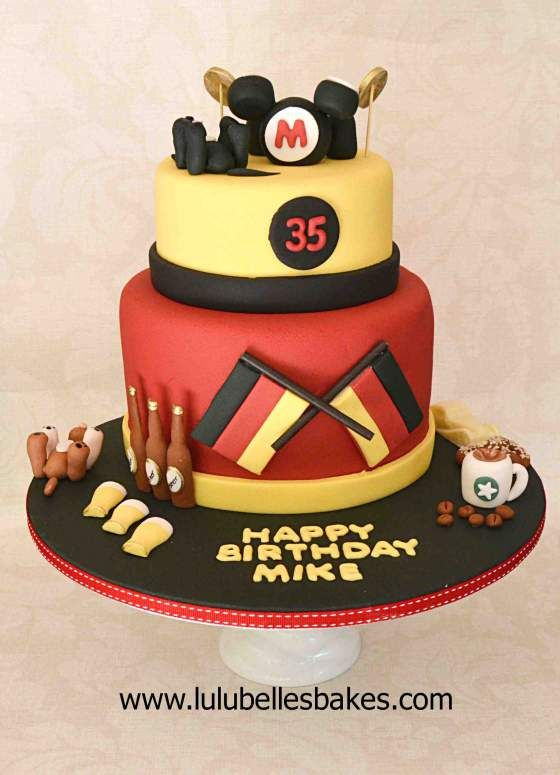 German Themed Birthday Cake For Men With Favourite Things On Cake