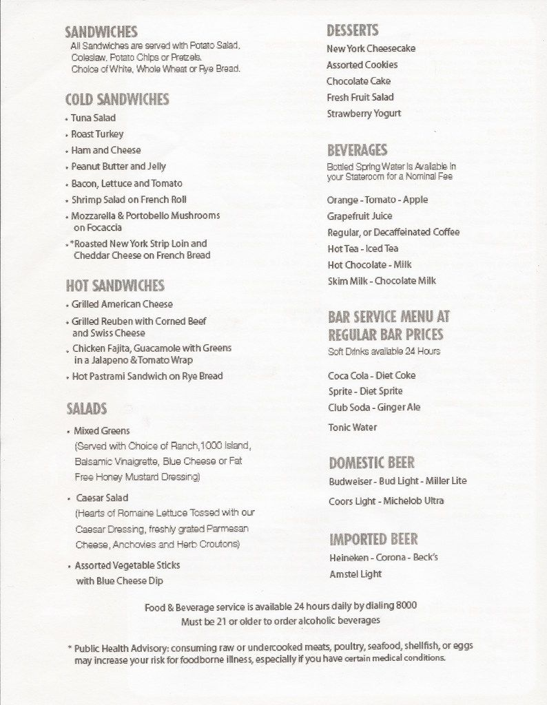 Carnival Sunshine 8 Day Picture Review with Funtimes, Menus