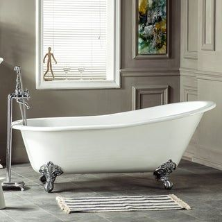 Photo of 67-in Cast Iron Single Slipper Clawfoot Tub (No Faucet Drillings) (Oil Rubbed Bronze), Brown, Kingston Brass