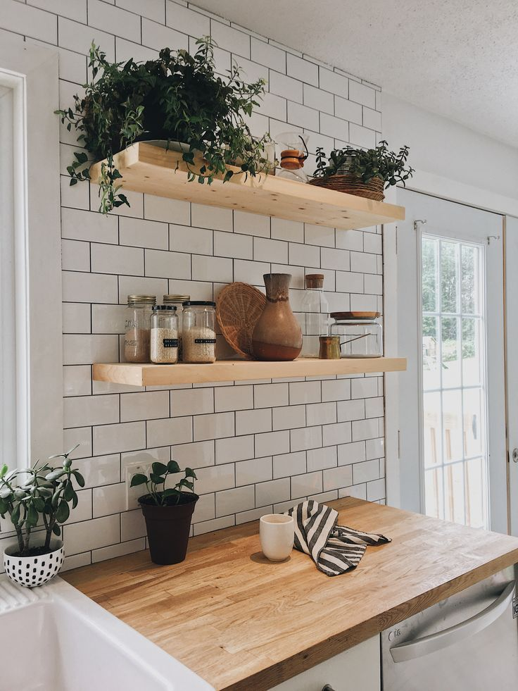 Slow morning! #woodenshelves #whitekitchen #openshelves #kitchendecor in 2019 | Home decor kitchen, Kitchen wall tiles, House design #countertop